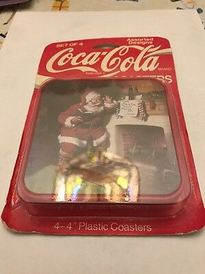 Coca-Cola Set Of 4 (4x4) Christmas Coasters- NEW- Free Shipping