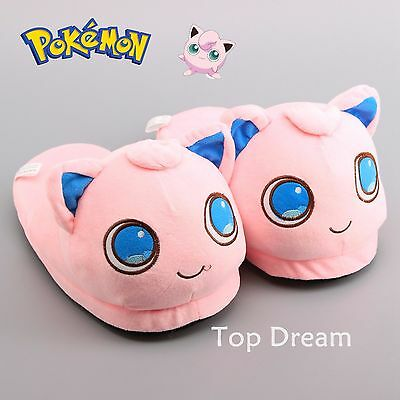 Pokemon Jigglypuff Plush Slippers Winter Warm Indoor Shoes Costume Gift New