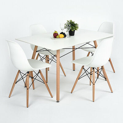 2017 Eiffel White Designer Dining MDF Top Matte Wooden Leg Table /Chairs X Frame