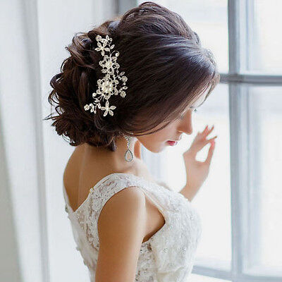 Crystal Diamante Rhinestone Flower Pearl Hair Clip Comb  Bridal Wedding