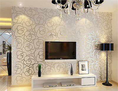 3D Embossed Wallpaper Modern Mural Roll Rose Pattern Silver Line Wall Decoration