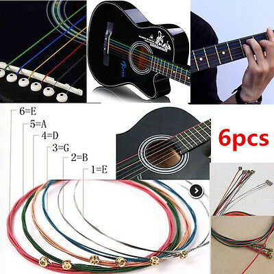 6X Stainless Steel Colorful Music 1st-6th String Wire Set For Acoustic Guitar