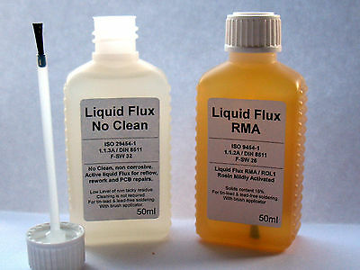 Liquid Flux No Clean or RMA , rework reflow pcb repairs 50ml + brush applicator
