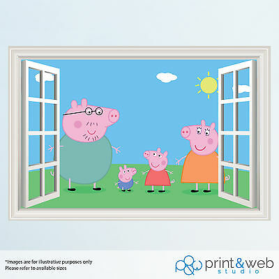Peppa Pig 3D Window View Decal Wall Sticker Home Decor Art Kids