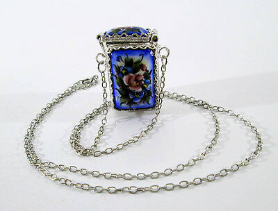 Traditional Russian Enamel Finift Hand Made Rostov Vintage Jewelry Pendant #78