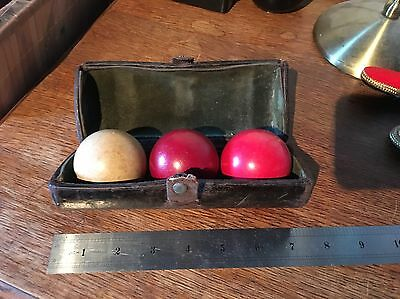 Victorian Full size Hand Carved Antique Billiard Ball set in leather case c1880