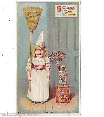 Thepure Baking Powder Trade Card Girl with Broom Monkey with Featherduster