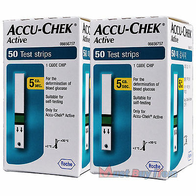 ROCHE Accu-Chek Active Diabetic Blood Glucose Meter 100 Test Strips Exp 07/2017