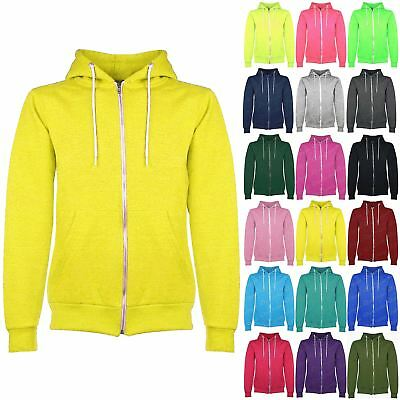 New Kids Boys Girls Unisex Plain Fleece Knitted Jumper Hooded Sweatshirt Hoodies