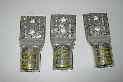 "Lot of 5 BURNDY YA44L2TC38FX 750 MCM Lug 2 Hole, 1"" Stud Hole Space Yellow"