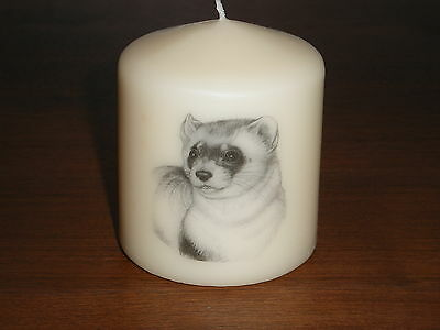 Candle Picture of Ferret #2 Can Be Personalised Gift Birthday Memorial Love New
