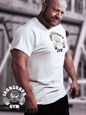 Skull and Barbells Men's Relaxed Fit Workout Tee/ Gym T-Shirt, White