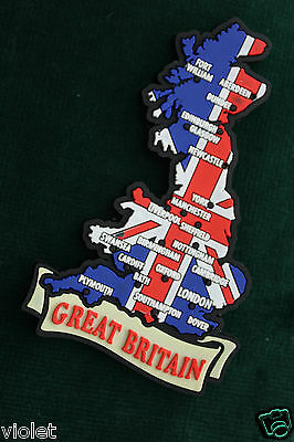 Fridge magnet Union Jack & map of Great Britain NEW perfect rubber England UK GB