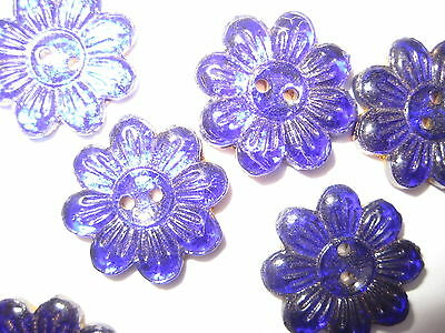 12 Cobalt Blue Pressed Glass Flower Shaped Sew-On Trim Or Buttons Vintage Stock