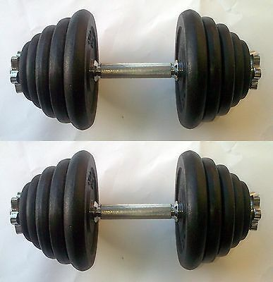 60KG Dumbbell Set, up to 2 x 30kg, Spinlock Bars, Iron Weights / Discs / Plates