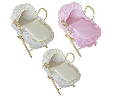 Toy Dolls Moses Basket + Stand Beautiful Replica Broderie Anglais Gift  BN