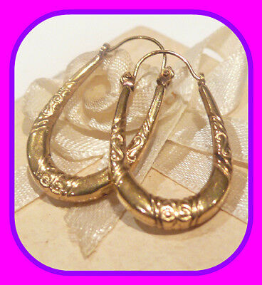 Gorgeous Genuine 9Ct Yellow Gold / 375 Creole / Hoop Patterned Earrings From Uk