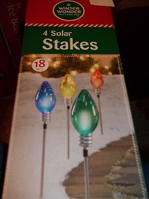 "Winter Wonder Christmas 4 Solar Bulbs Stakes 18"" Tall Outdoor  Pathway Markers"