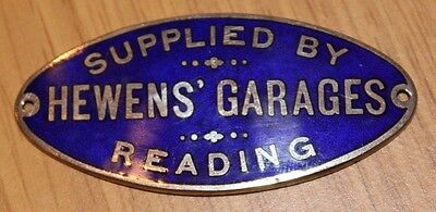 Hewens Garages Reading Dashboard Suppliers Badge Plaque. Original Unused