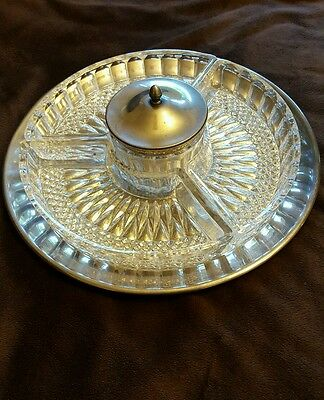 Vintage Silver Plate & Glass Relish Tray Lazy Susan P M Italy