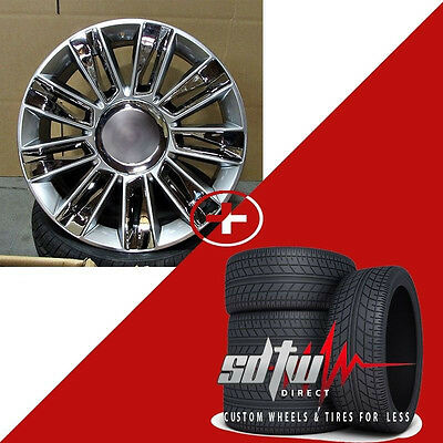 "22"" Platinum Style Silver Chrome Wheels Tires Fits Cadillac Escalade EXT Chevy"