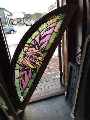 Sg 1004 Antique Stainglass Musical Theme Arch Window