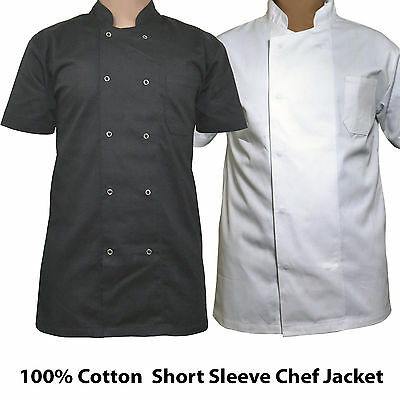 100% Cotton Excelent Chef white black Jackets Short Sleeve Suitable For Unisex