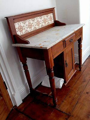 Victorian Pitch Pine with Marble Top Wash Stand