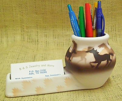 Cedar Mesa Native American Made and Painted Pottery Wild Horses Desk Caddy