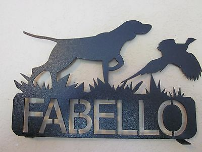 Bird Dog And Pheasant Mailbox Topper (Your  Name) Steel Black Powder Coat Finish