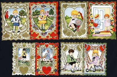 VALENTINES - 4 WHITNEY Greetings with Double Sided Images c 1920