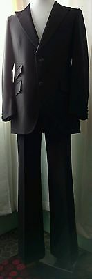 Richman Brothers 42 R Black Charcoal Gray 1980's Flare Pant Peak Label Suit
