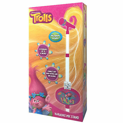 Dreamworks Trolls karaoke stand + microphone fits most music devices. Brand new!