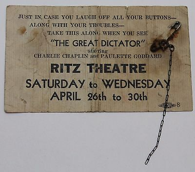 The Great Dictator * 1941 CHARLIE CHAPLIN Vintage Movie Ticket Pass for the Film