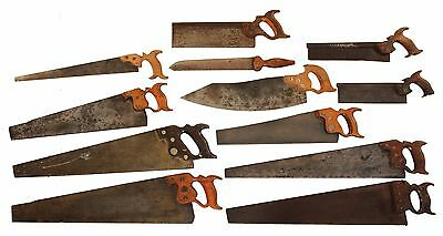 Collection of Assorted Early Hand Saws - W.B. Sears Tenon, Atkins Flooring, Etc.