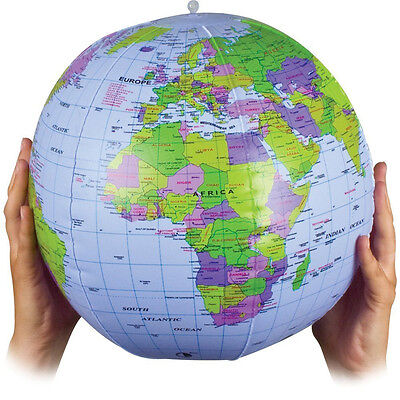 "16"" Inflatable World Earth Globe Tellurion Geography Map Teacher Aid Ball Toy"