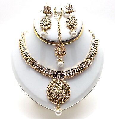 Indian Party Ethnic Wear Polki Necklace Set Asian Bollywood Bridal Jewellery