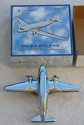 DC-3 Airplane Friction Powered Tin Plane w/ Spinning Propellers by Schylling DC3
