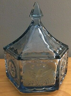 Vintage Blue Indiana Glass Hexagon Lidded Candy Dish Star and Eagle Design