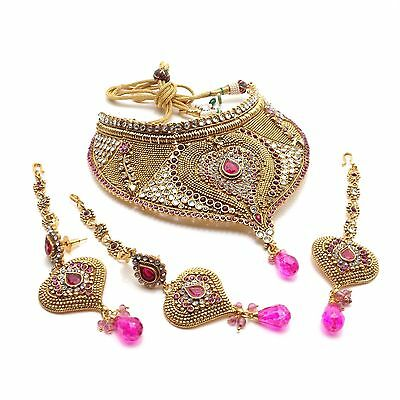 Indian Mukut Necklace Set Bollywood Traditional Bridal Party Wear Jewellery