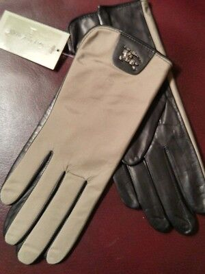 BURBERRY Beige Gloves With LOGO Leather Palm  Silk Lined Sz 6.5 NWT @GREAT GIFT@