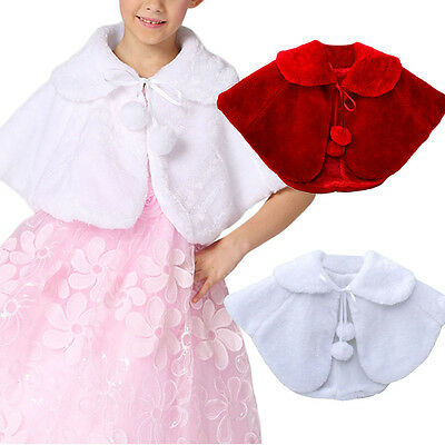US Fashion Kids Girls Faux Fur Shrug Stole Cape Bridal Bolero Shawl Coat Wraps