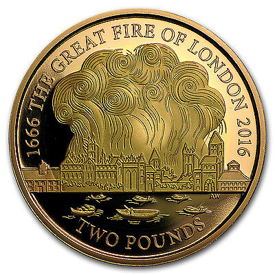 2016 Great Britain £2 Gold Great Fire of London Proof - SKU #98518