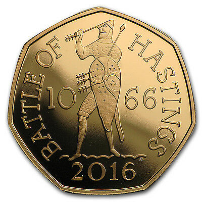 2016 Great Britain 50 Pence Gold Battle of Hastings Proof - SKU #103128