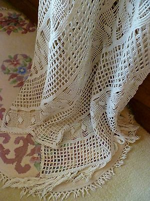 Genuine~FRENCH~Antique~Vintage~c1900~Crochet~Bedspread~Throw