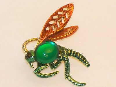 Vintage FLYING BUG PIN Winged Insect Green Glass Cabochon Rhinestone