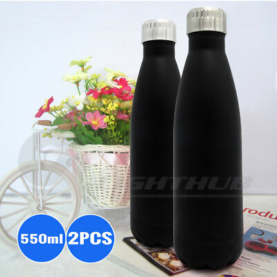 2PCS Stainless Steel Water Bottle Sport Outdoor Training Drink Cap Gym Camping