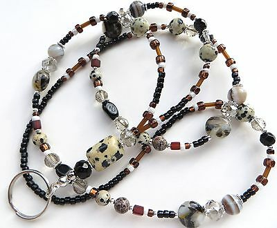 DALMATIAN JASPER- Beaded ID Lanyard- Mother of Pearl, Agate & Jasper Gemstones