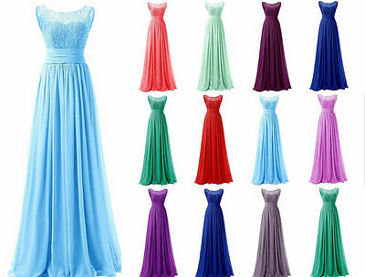 Long Chiffon Bridesmaid Prom Dresses Party Evening Formal Gown Dress Size 6-26