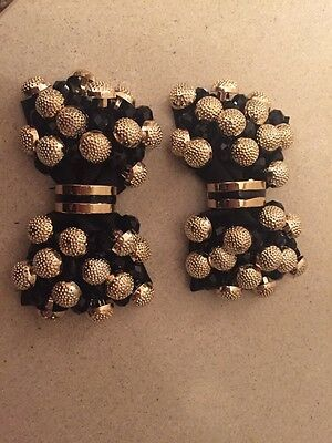 Black And Gold Beaded Shoe Clips / Accessory